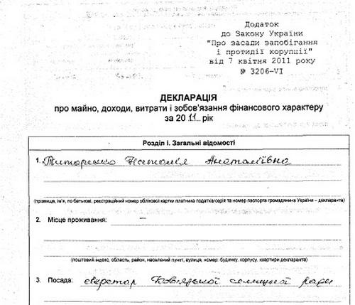 Декларація секретаря Ковязької селищної ради Титаренко Н. А. за 2011 рік