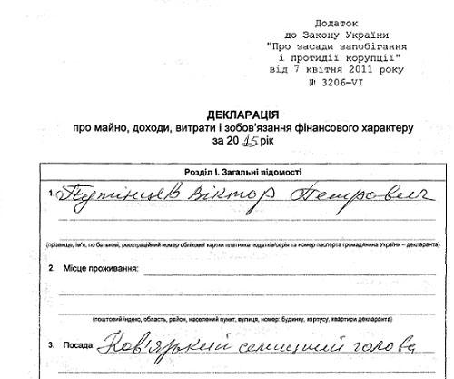 Декларація голови Ковязької селищної ради Путінцева В. П. за 2015 рік