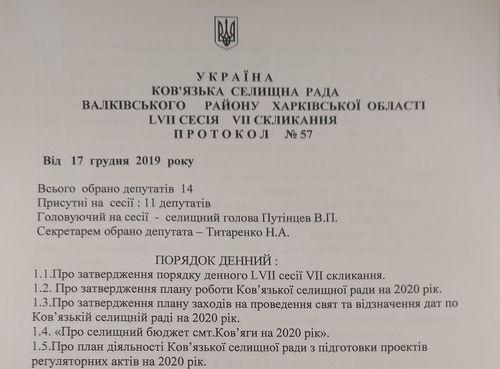 Протокол сесії Ков'язької сільради від 17.12.2019